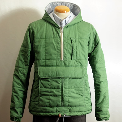 Band of Outsiders Hoodie-Quilted Green Nylon